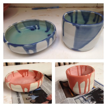 Before and after my glazed pieces were fired.